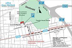 Anfahrtsskizze zum Haus Waldeck mit Straßenbahn und den Autobahnverbindungen.